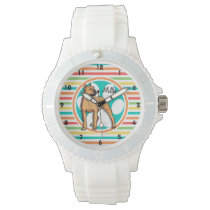 Brown Pit bull; Bright Rainbow Stripes Wristwatch