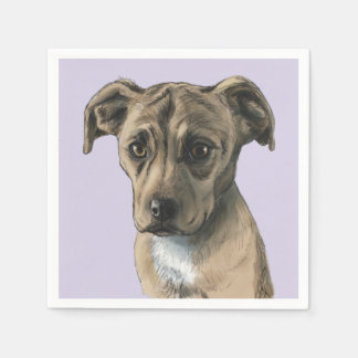 Brown Pit Bull Puppy Drawing Paper Napkin
