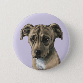 Brown Pit Bull Puppy Drawing Pinback Button
