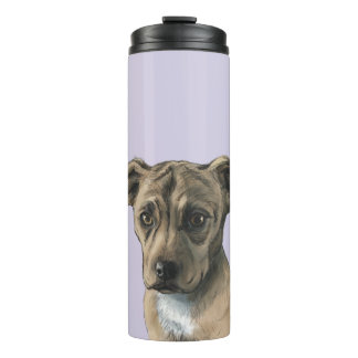 Brown Pit Bull Puppy Drawing Thermal Tumbler