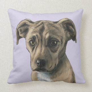 Brown Pit Bull Puppy Drawing Throw Pillow
