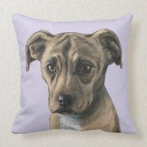 Brown Pit Bull Puppy Portrait Throw Pillow