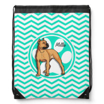 Brown Pitbull; Aqua Green Chevron Drawstring Bag