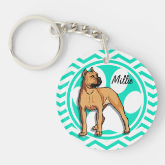 Brown Pitbull; Aqua Green Chevron Double-Sided Round Acrylic Keychain