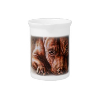 Brown pitbull face drawing of pet portrait dog beverage pitcher