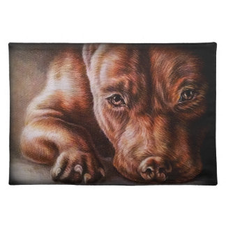 Brown pitbull face drawing of pet portrait dog cloth placemat