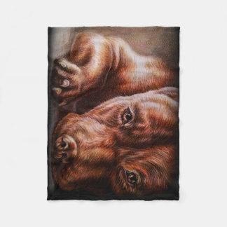 Brown pitbull face drawing of pet portrait dog fleece blanket