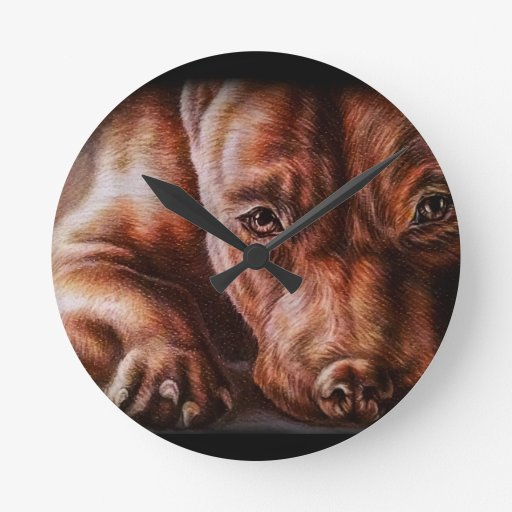 Brown Pitbull Face Drawing Of Pet Portrait Dog Round Clock