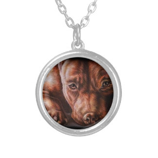 Brown pitbull face drawing of pet portrait dog round pendant necklace