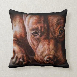 Brown pitbull face drawing of pet portrait dog throw pillow
