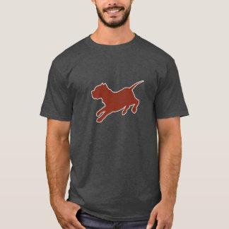 Brown Pitbull Silhouette Dark T-shirt