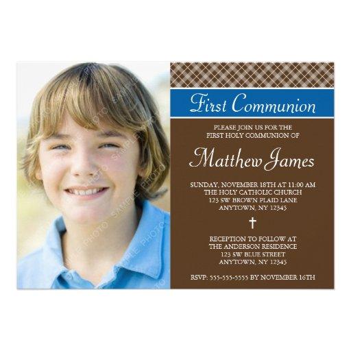 Brown Plaid Boy Photo First Holy Communion Invite