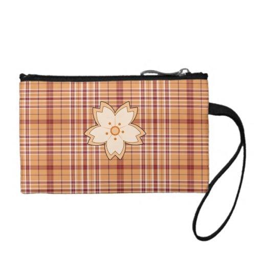 Brown plaid flower mini key coin clutch change purse