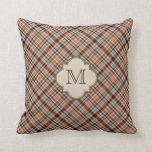 Brown Plaid Pattern Monogram Pillow