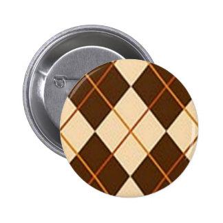 Brown Plaid Pinback Button