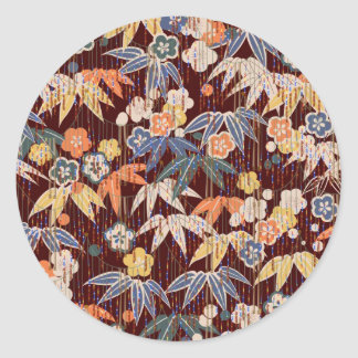 Brown Plants Ornament Classic Round Sticker