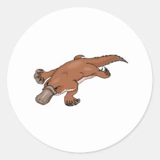 Brown Platypus Round Stickers