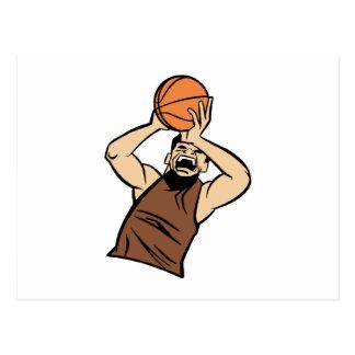 Brown player shooting ball postcard