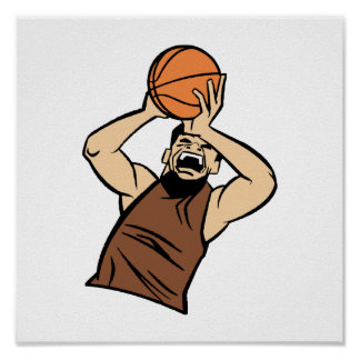 Brown player shooting ball print