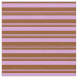 [ Thumbnail: Brown & Plum Colored Lines Fabric ]