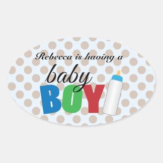 Brown polka dot baby boy oval sticker