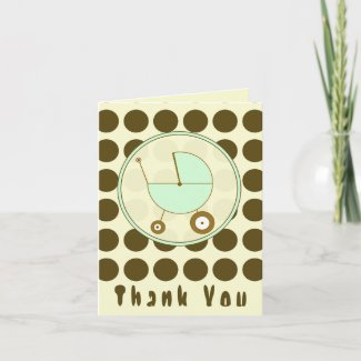 Brown Polka Dot/ Green Baby Carriage Thank You card