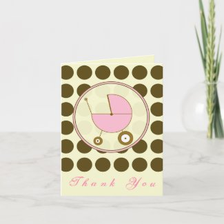 Brown Polka Dot / Pink Baby Carriage Thank You card