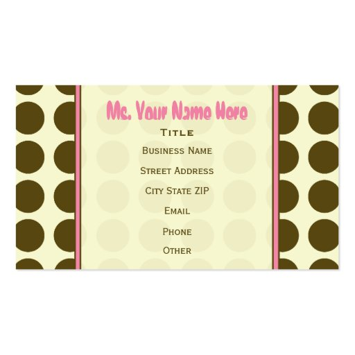 Brown Polka Dot / Pink Fashion Business Card