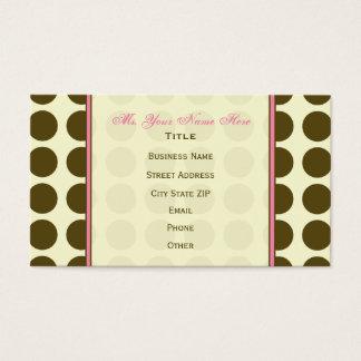 Brown Polka Dot / Pink Monogram Business Card