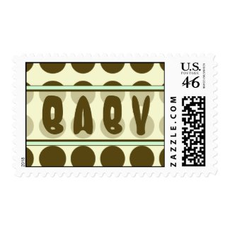 Brown Polka Dot with Green Baby Postage Stamp stamp