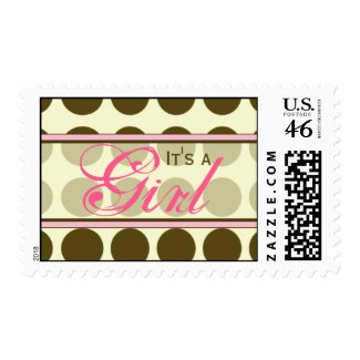 Brown Polka Dot with Pink Baby Postage Stamp stamp