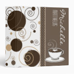 Brown Polka Dots and Swirls Name Coffee Cup 3 Ring Binder