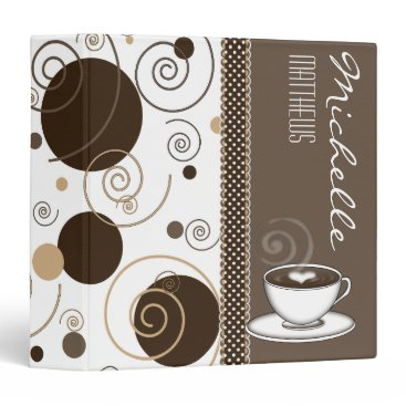 Coffee Themed Brown Polka Dots and Swirls Name Coffee Cup 3 Ring Binder