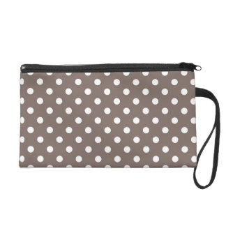 Brown Polka Dots Wristlet Clutches