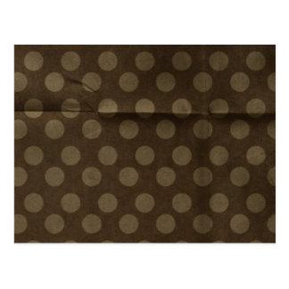 Brown Polka Dots Big with Crease Faded Postcard