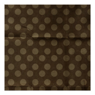 Brown Polka Dots Big with Crease Faded Poster