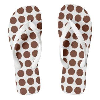 Brown Polka Dots Flip Flops