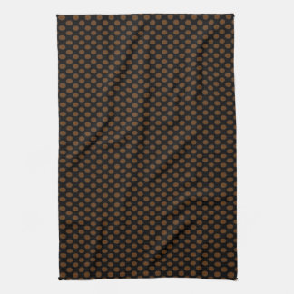 Brown Polka Dots on Black Kitchen Towels