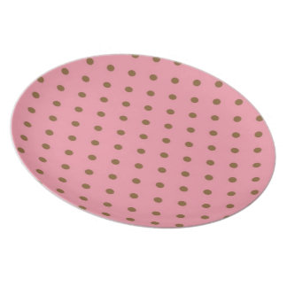 Brown Polka Dots On Pink Background Dinner Plate