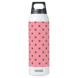 Brown Polka Dots On Pink Background Insulated Water Bottle