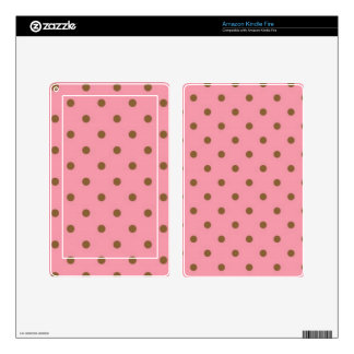 Brown Polka Dots On Pink Background Kindle Fire Decals
