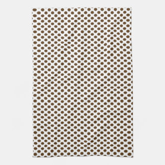Brown Polka Dots on White Kitchen Towels
