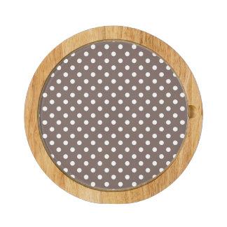 Brown Polka Dots Round Cheeseboard