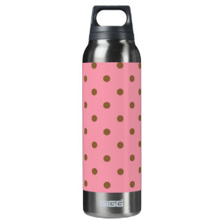 Brown Polka Dots Pink Background Insulated Water Bottle