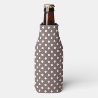 Brown Polka Dots Bottle Cooler
