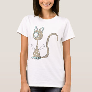 Brown polka-dotted cat with wings T-Shirt
