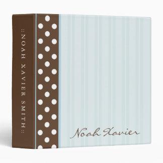 Brown Polkadots/Blue Stripes Vinyl Binders
