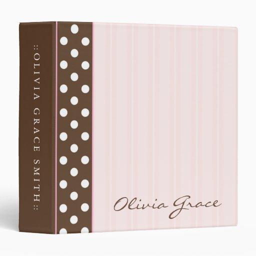 Brown Polkadots/Pink Stripes 3 Ring Binder