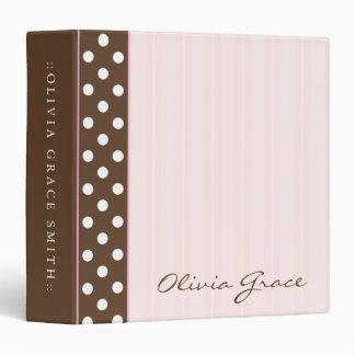 """Brown Polkadots/rayas rosadas Carpeta 1 1/2"""""""