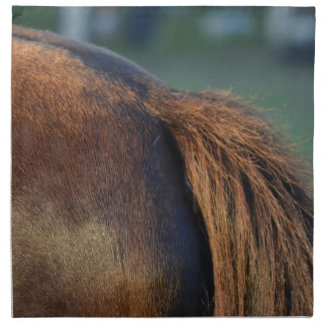 Brown pony hindquarters and tail printed napkin